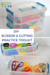 DIY Scissor and cutting practice toolkit for parents, teachers, and therapists.