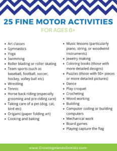 25 fine motor activity ideas for ages 6+