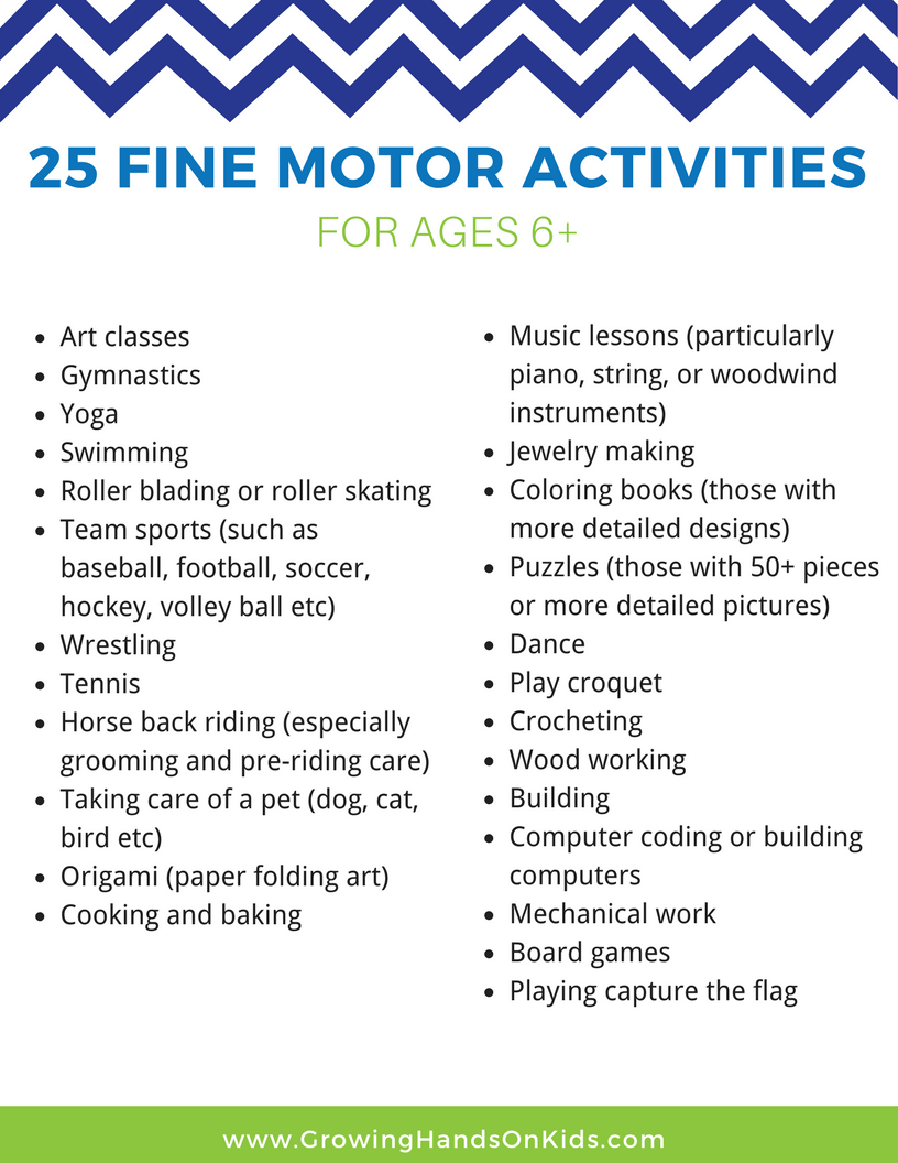 25 fine motor activity ideas for older kids