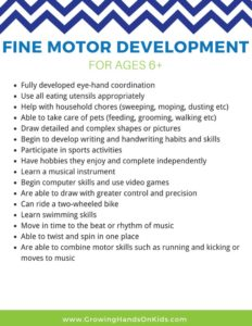 Fine motor development for ages 6+