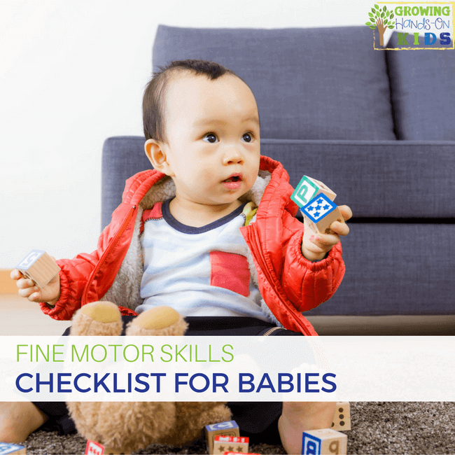 Fine motor skills checklist for babies, ages 0-18 months old.