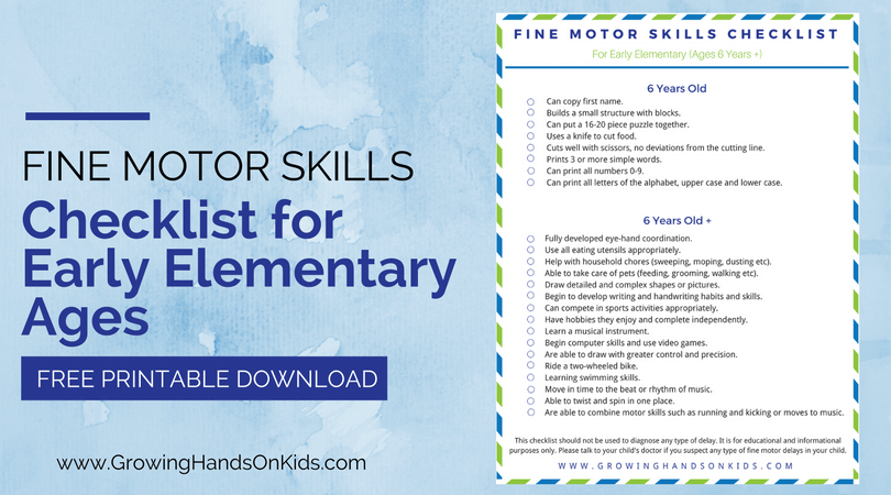 Fine Motor Skills Checklist For Early Elementary Ages 6