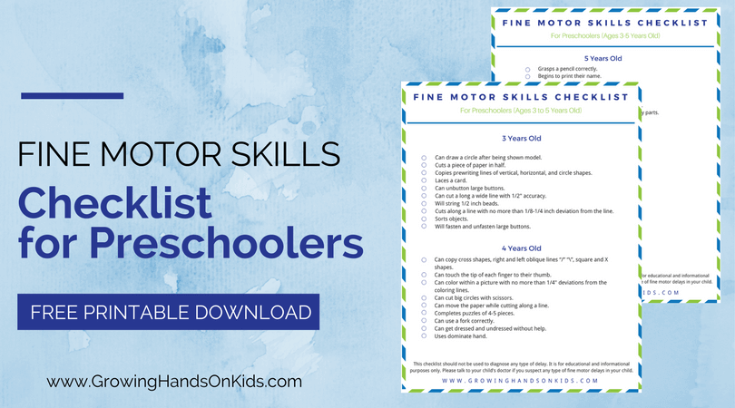 Fine Motor Skills Checklist for Preschoolers, ages 3-5 years old.