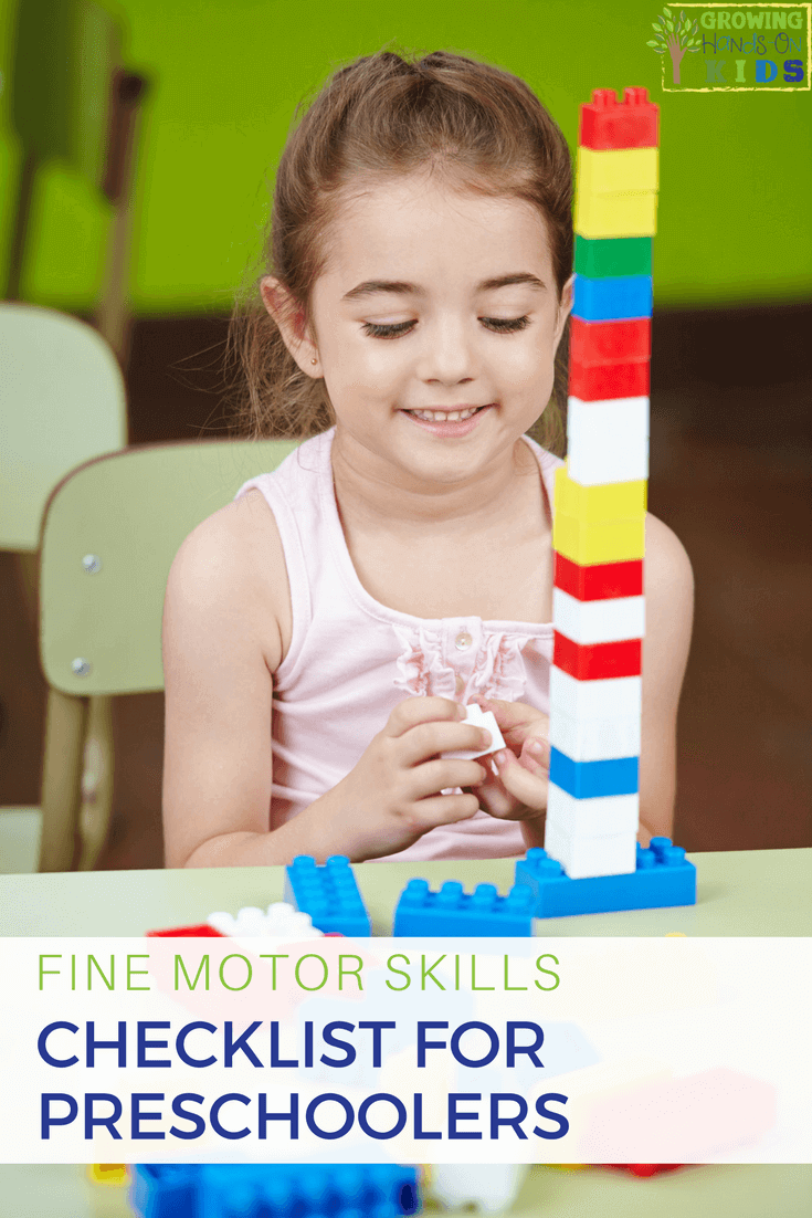 fine motor checklist for preschoolers