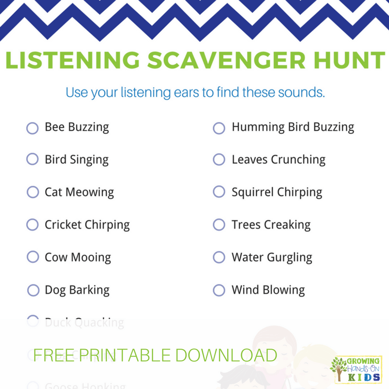 image about Classroom Scavenger Hunt Printable named Listening Scavenger Hunt for Little ones - No cost Printable Down load