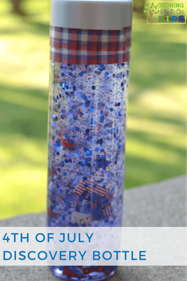 4th of July Discovery Bottle for Kids.
