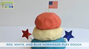 Red, white and blue homemade play dough, patriotic no-cook play dough recipe.