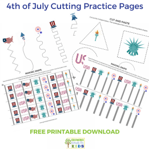 4th of July Cutting Practice Pages