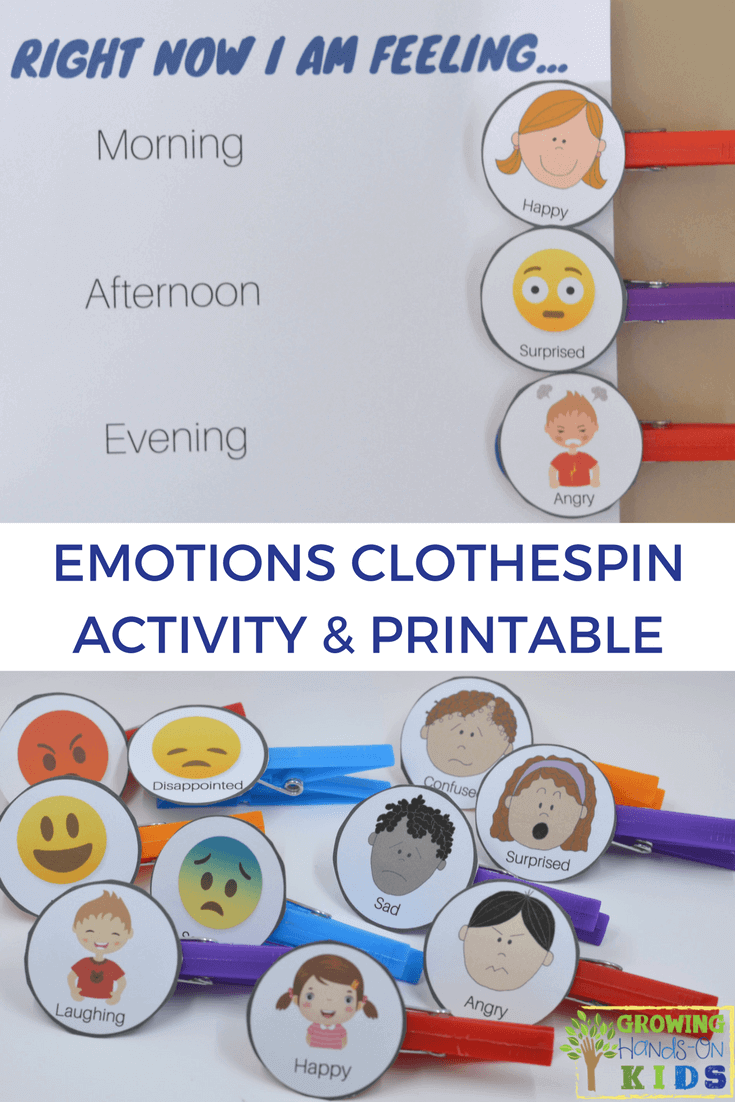 Emotions Clothespin Activity Chart for kids, includes a free printable.