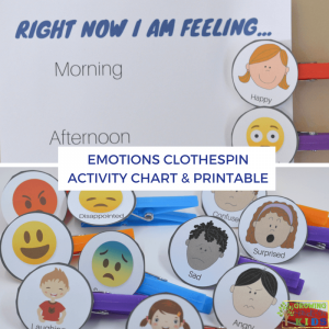 Emotions Clothespin Activity Chart, includes a free printable!