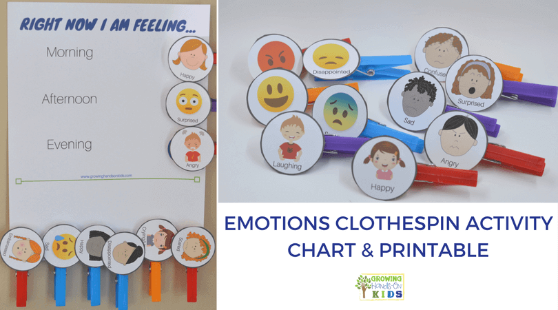 graphic regarding Emotions Chart Printable identify Do it yourself Inner thoughts Clothespins Match Chart - Features a cost-free