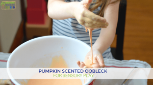 Pumpkin scented oobleck for sensory play.