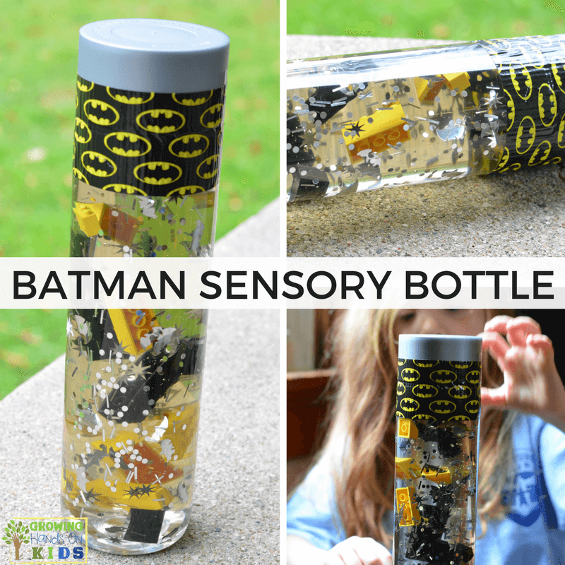 Batman Sensory Bottle for sensory play.