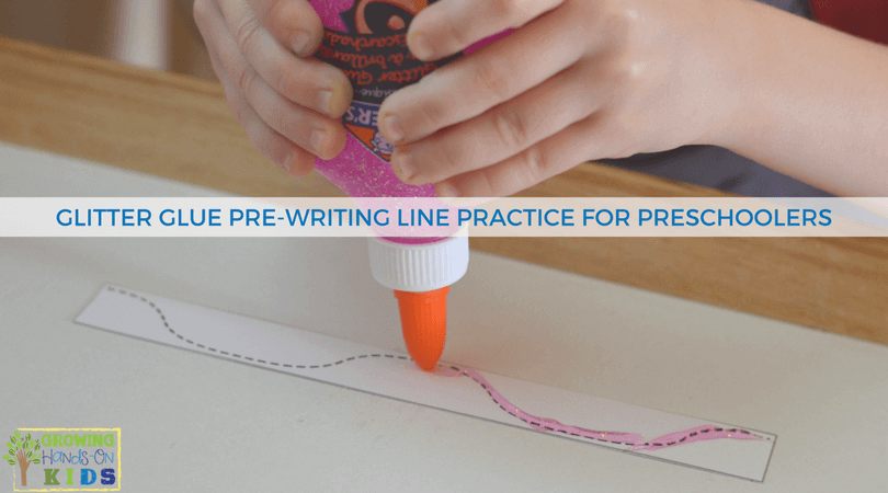 Glitter Glue Pre-Writing Line Practice for Preschoolers - includes a free printable template.
