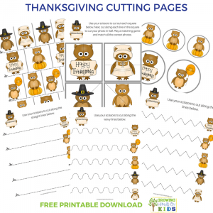 Thanksgiving themed cutting practice pages for scissor skills.