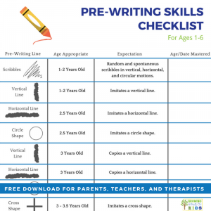 Pre-writing skills checklist for teachers, parents, and therapists. Free digital download to use at home, in the classroom or therapy sessions.