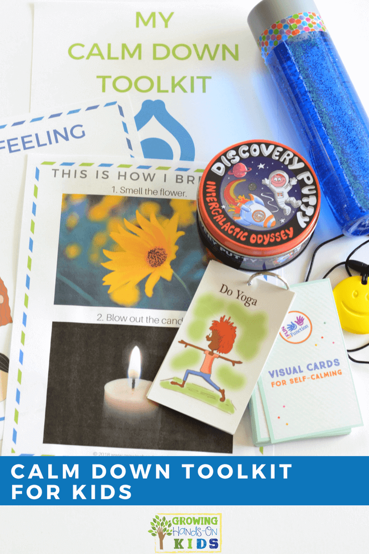 Calm down toolkit for kids. Includes my calm down station toolkit printable. #SensoryProcessing #CalmDownKit #ChildDevelopment