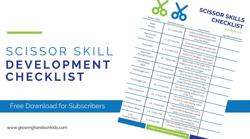 Scissor skill development checklist. Cutting skill checklist for parents, teachers, and therapists.