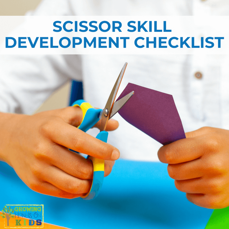 Scissor skill development checklist. Cutting skill checklist for parents, teachers, and therapists.