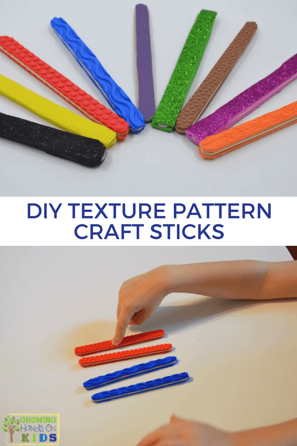 DIY Texture Pattern Craft Sticks for Hands-On Activities. #Handsonactivities #Kidsactivities #craftsticks #BusyBags #SensoryPlay #Patterns