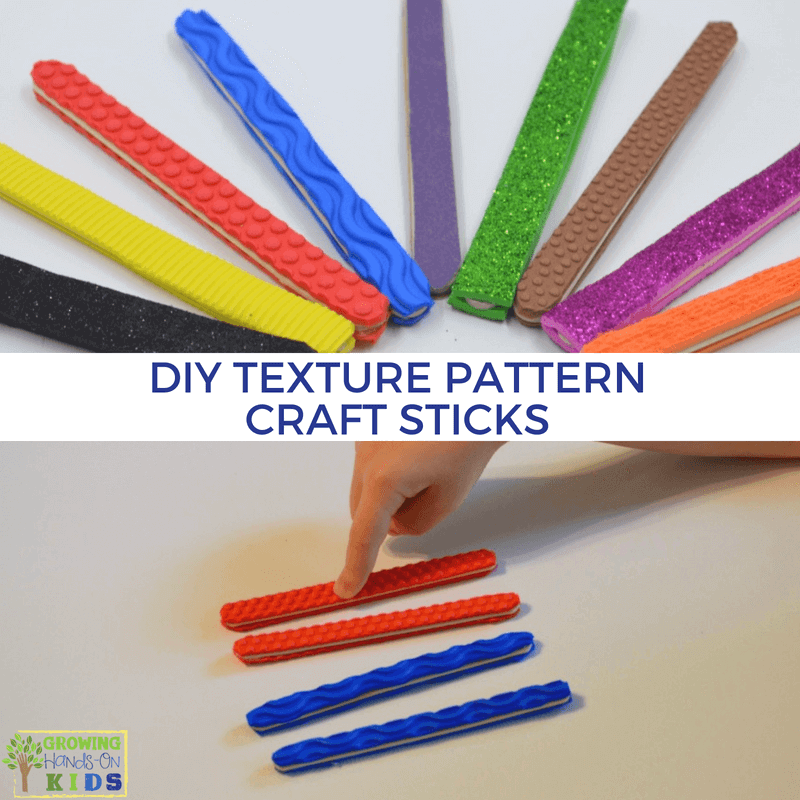 DIY Texture Pattern Craft Sticks for Hands-On Activities.