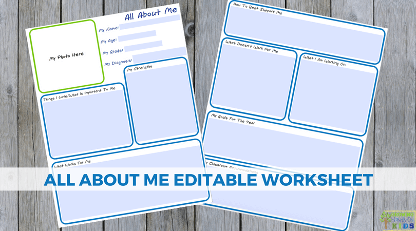 All About Me Editable Worksheet for special needs families.