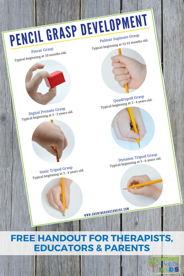 Pencil grasp development handout. A free printable for therapists, educators, and parents. #PencilGrasp #ChildDevelopment #OccupationalTherapy #Handwriting