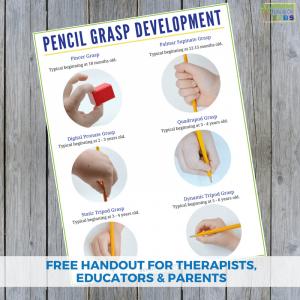 Pencil grasp development handout. A free printable for therapists, educators, and parents.