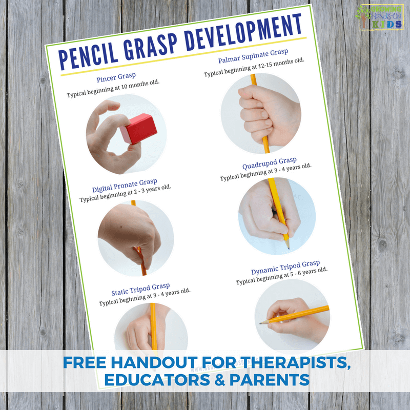 Pencil grasp development handout. A free printable for therapists, educators, and parents.