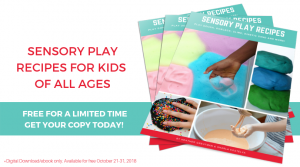 Sensory play recipes ebook, free limited time offer.