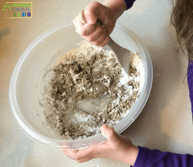 Importance of Messy Play with Messy Play Kits, making moonsand.