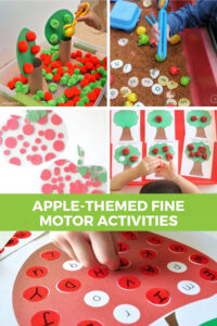 collage of apple-themed fine motor activities for kids.
