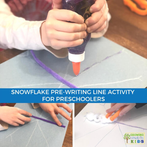 collage of children completing snowflake pre-writing line activity for preschoolers.