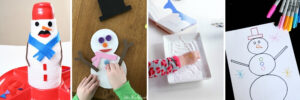 collage of winter themed fine motor activities for kids