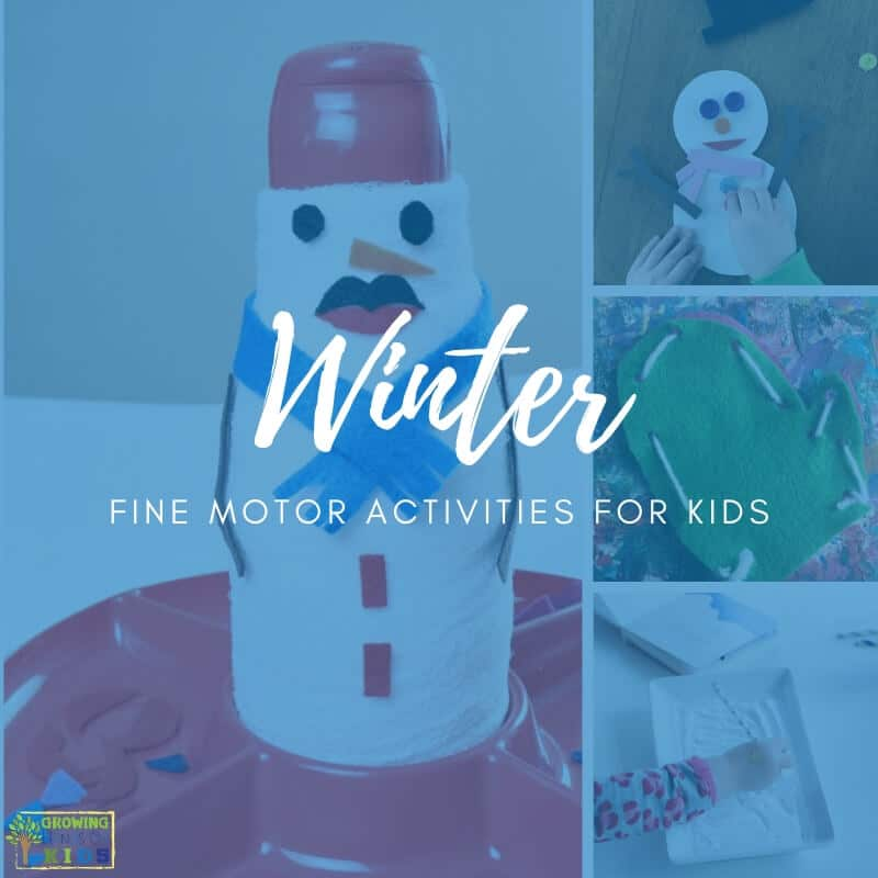 """collage of winter fine motor activities for kids with blue overlay and white text that read """"10 winter fine motor activities for kids""""."""
