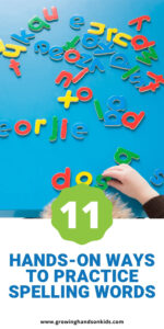 """Top of the picture is a boy spelling words with alphabet blocks on a blue surface. Blue text on a white background below the picture states """"hands-on ways to practice spelling words""""."""