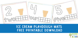 blue background with ice cream playdough mats sample.