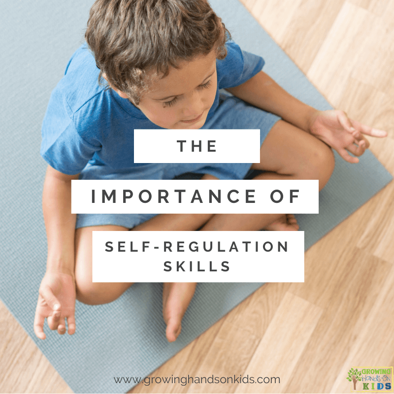 """Young boy in blue shirt and shorts sitting on a blue yoga mat in a meditative position. White text box overlay says """"The importance of self-regulation skills."""""""