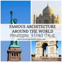 Famous Architecture Around the World Montessori 3-Part cards for toddlers, preschoolers, and elementary.