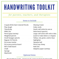 DIY Handwriting Toolkit idea for therapists, teachers, and parents.