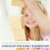 Fine motor skills checklist for early elementary age children. Plus a free printable checklist.